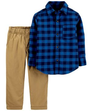 Carter's 2-Piece Plaid Button-Front Shirt & Canvas Pant Set - Blue