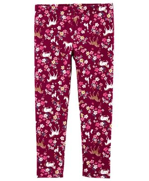 Carter's Floral Horse Leggings - Burgundy