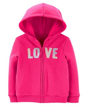 Carter's Sequin Love Zip-Up Fleece Hoodie - Pink