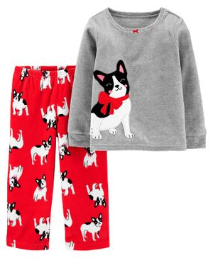 Carter's 2-Piece French Bulldog Snug Fit Cotton & Fleece PJs - Grey Red