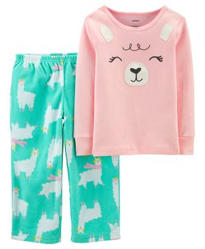 Carter's 2-Piece Llama Snug Fit Cotton & Fleece PJs - Pink Sea Green