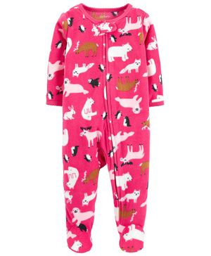 Carter's Zoo Animals Zip-Up Fleece Sleep & Play - Pink