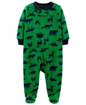 Carter's Woodland Creatures Zip-Up Sleep & Play - Green
