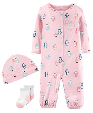 Carter's 3-Piece Penguin Take-Me-Home Set - Pink