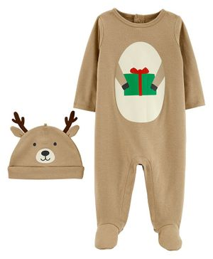 Carter's 2-Piece Reindeer Coverall & Hat Set - Brown