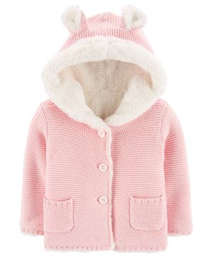 Carter's Sherpa-Lined Hooded Cardigan - Pink