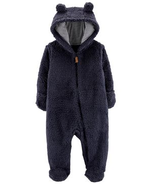 Carter's Sherpa Hooded Bunting - Navy Blue