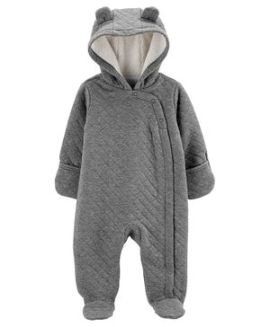 Carter's Quilted Heather Hooded Bunting - Grey