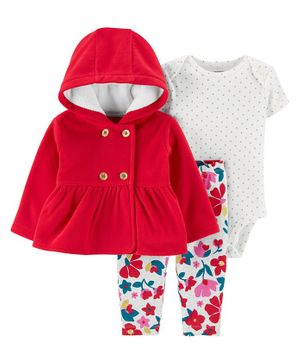 Carter's 3-Piece Fleece Little Jacket Set - Red