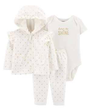 Carter's 3-Piece Polka Dot Little Jacket Set - White