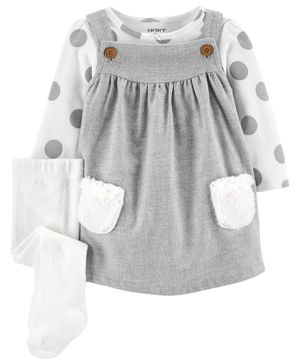 Carter's 3-Piece Polka Dot Bodysuit & Jumper Set - Grey