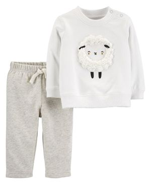 Carte's 2-Piece Sheep Sweatshirt & Pant Set - Grey