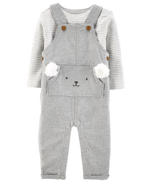 Carter's 2-Piece Tee & Twill Overalls Set - Grey