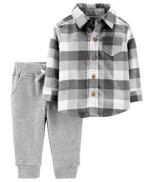 Carter's 2-Piece Plaid Button-Front Top & Pant Set - Grey White