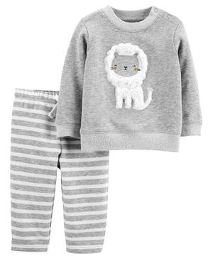 Carter's 2-Piece Lion French Terry Top & Striped Pant Set - Grey