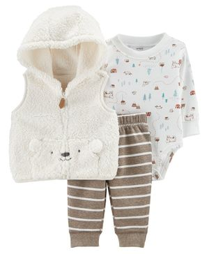 Carter's 3-Piece Sherpa Little Vest Set - Cream