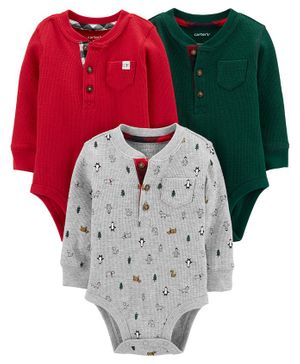 Carter's 3-Pack Holiday Original Bodysuits - Red Green Grey