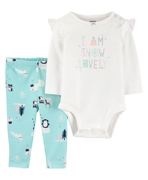 Carter's 2-Piece Snow Penguin Bodysuit Pant Set - Blue White