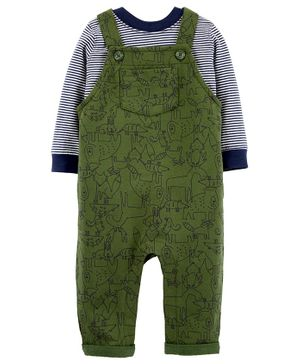 Carter's 2-Piece Striped Tee & Animal Knit Overalls Set - Green