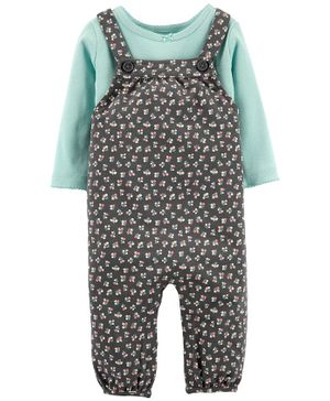 Carter's 2-Piece Tee & Floral Knit Overalls Set - Grey Blue