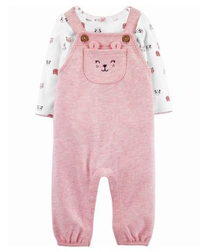 Carter's 2-Piece Animals Tee & Knit Overalls Set - Pink