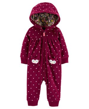 Carter's Owl Hooded Zip-Up Fleece Jumpsuit - Burgundy