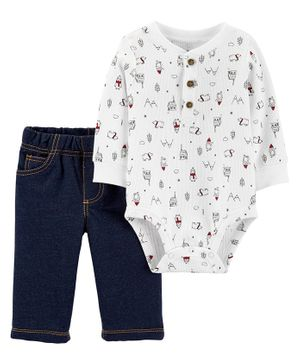 Carter's 2-Piece Winter Henley Bodysuit Pant Set - Navy White