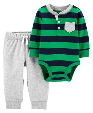 Carter's 2-Piece Henley Bodysuit Pant Set - Green