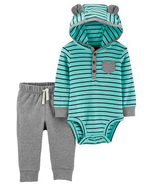 Carter's 2-Piece Striped Hooded Bodysuit Pant Set - Blue