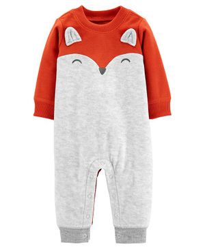 Carter's Fox Fleece Jumpsuit - Grey Orange