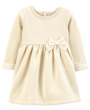 Carter's Bow Fleece Holiday Dress - Off White