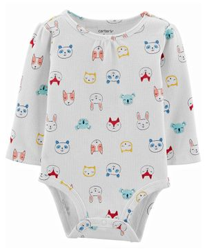 Carter's Animal Characters Thermal Bodysuit - White