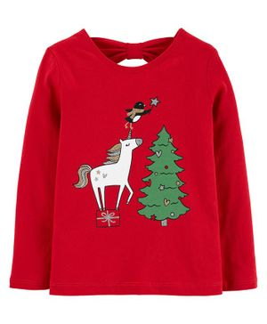 Carter's Christmas Unicorn Jersey Tee - Red