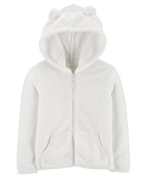 Carter's Zip-Up Fuzzy Hoodie - White