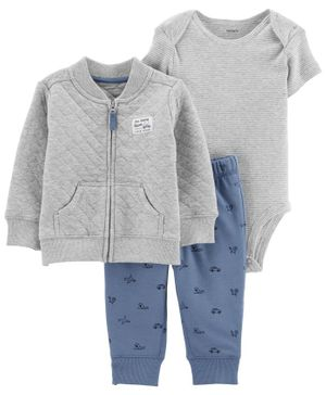 Carter's 3-Piece Quilted Heather Cardigan Set - Grey Blue