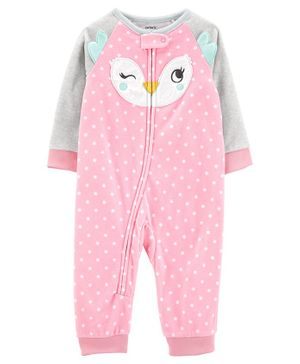Carter's 1-Piece Owl Fleece Footie PJs - Pink