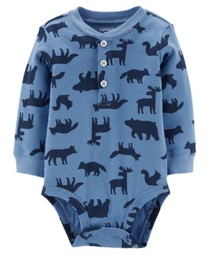 Carter's Woodland Creatures Henley Bodysuit - Blue