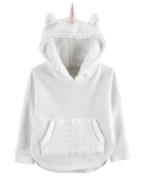 Carter's Unicorn Pullover Fleece Hoodie - White