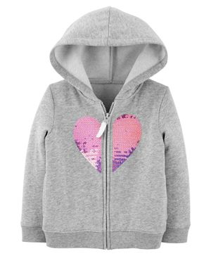 Carter's Sequin Heart Zip-Up Fleece Hoodie - Grey