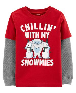 Carter's Snowman Homies Layered-Look Tee - Red