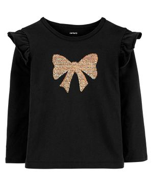 Carter's Sequin Bow Jersey Tee - Black