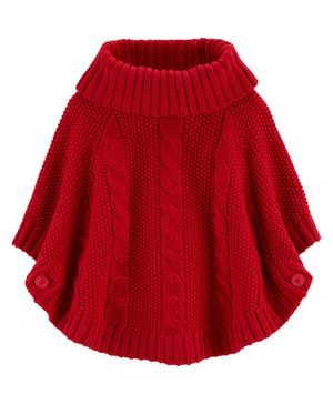 Carter's Sparkly Cable Knit Poncho - Red