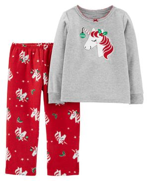 Carter's 2-Piece Christmas Unicorn Fleece PJs - Red Grey