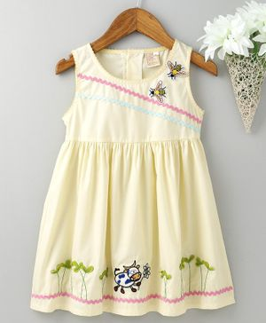 ABQ Sleeveless Frock Bee & Cow Patch - Light Yellow