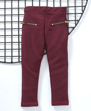 Earth Conscious Solid Full Length Jeggings - Maroon