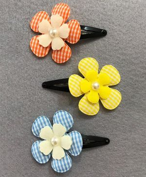 Kalacaree Set Of 3 Flower Applique Snap Clips - Multi Colour