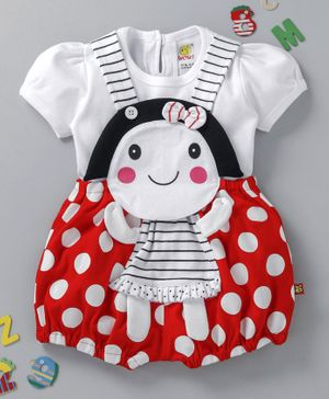 Wow Clothes Polka Dot Dungaree With Tee - Red