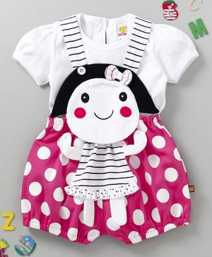 Wow Clothes Polka Dot Dungaree With Tee - Pink