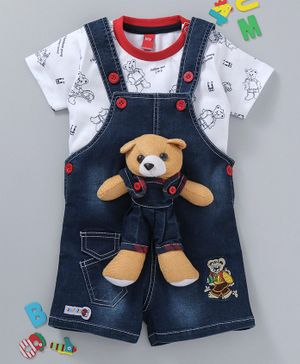 Wow Clothes Dungaree With Half Sleeves Tee Bear Applique - Navy Blue