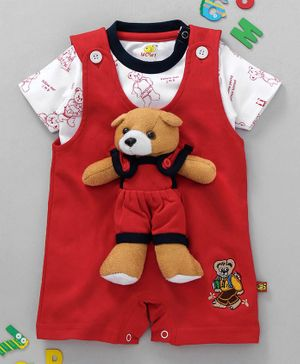Wow Clothes Half Sleeves Dungaree Style Romper With Tee Teddy Motif - Red White